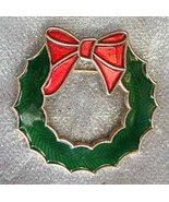 Festive Champleve Enamel Christmas Wreath Brooc... - $12.95