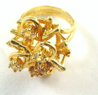 Vintage 18kt HGE Espo Flower with Stones Ladies Ring