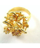 Vintage 18kt HGE Espo Flower with Stones Ladies Ring - $8.95