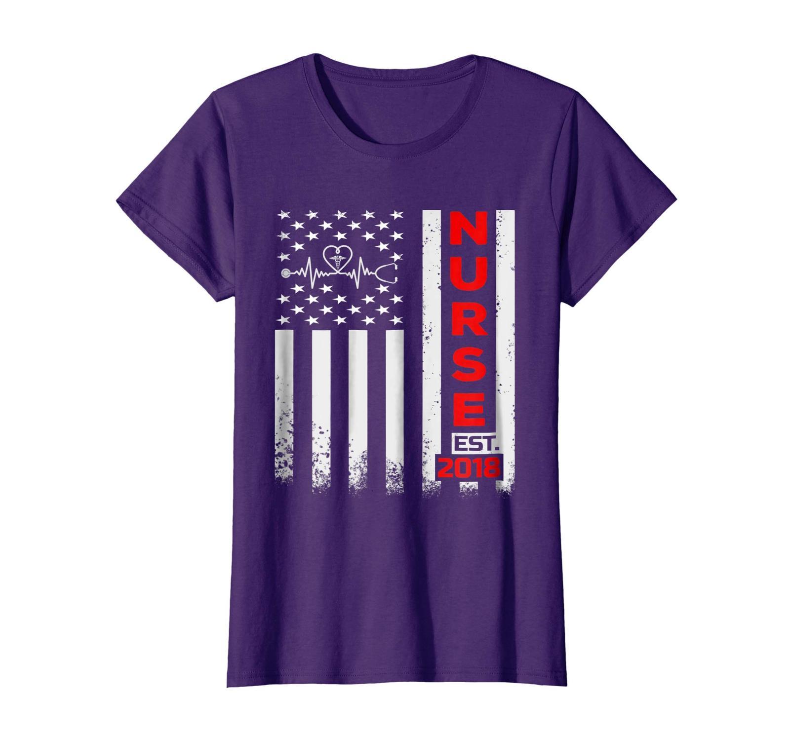 Funny Tee - American Flag Nurses T-Shirt Nurse Est 2018 Graduation Gifts Wowen