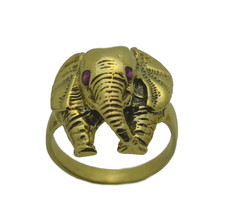 NICE 24K GOLD PLATED REAL Sterling Silver Detailed Elephant Ring Jewelry... - $34.57