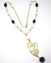 SILVER 925 NECKLACE, YELLOW, ONYX, AGATE WHITE, DOUBLE HEART, PENDANT image 2