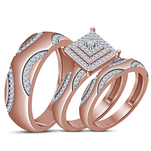 Engagement Ring Wedding Band Trio Set Round Cut CZ Rose Gold Plated 925 ... - $157.88