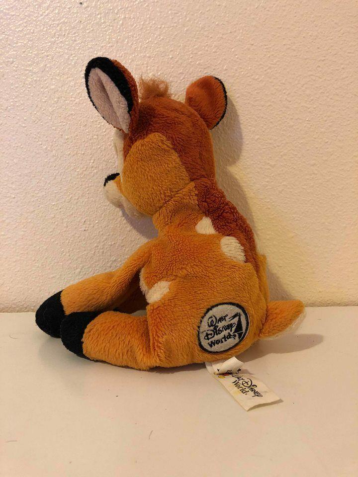 "Plush Stuffed Animal Bambi 9"" Beanbag Disney World"