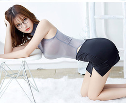 97L004 Sexy Body-building perspective clothes,teddy & skirt,free size,gray/black - $38.80