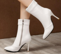 9AB9b154 Trending Martin Booties, slim & high heels, size 2-12, white - $62.80