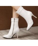9AB9b154 Trending Martin Booties, slim & high heels, size 2-12, white - $62.80