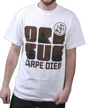 Orisue Herren Weiß Braune Schwarz Carpe Diem Union Arbeit Industrie T-Shirt image 1