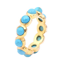 4.95 Ct Round Turquoise Cabochon Gemstone 925 Sterling Silver Gold Rhodi... - $22.50