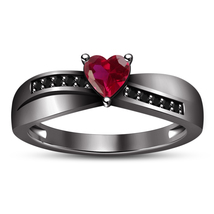 Pink Sapphire Heart Shape Black Rhodium Finish Solid 925 Silver Engageme... - $85.77