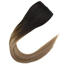 JoYoung Human Hair Halo Extensions for Women 14inch 80g Darkest Brown Ombre to M image 2