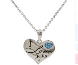"❤ Connections from Hallmark Stainless Steel ""I love us"" ❤ Blue Crystal P... - $11.18"
