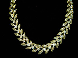Coro Leaves w Gold Veining  Wedding Necklace Bridal Necklace Feminine Bridal Nec - $32.95