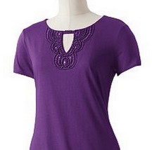 Dana Buchman Purple Embellished Bead Knit Top XS - $24.99