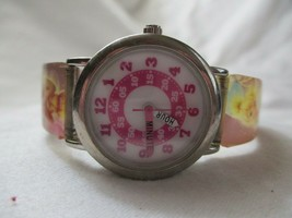 Disney Tinkerbell Wristwatch Colorful Buckle Band Silver Tone Round Face - $29.00