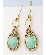 Variscite Gold Wire Wrap Earrings 11 - £34.41 GBP