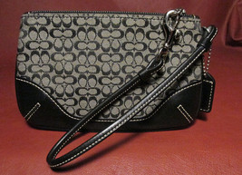 COACH Black Leather and Signature Cloth Wristlet Gently Used Excellent C... - $19.92