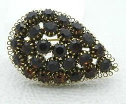 Topaz Brown Rhinestone Filigree Leaf Pin Brooch Gold Tone - $39.59