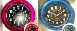 "Neon Wall Clock, Sterling & Noble Modern Home, Choice Blue or Pink 11""- NEW - $38.98+"