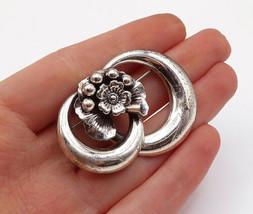 DANECRAFT 925 Silver - Vintage Shiny Polished Flower Design Brooch Pin - BP4845 - $32.73