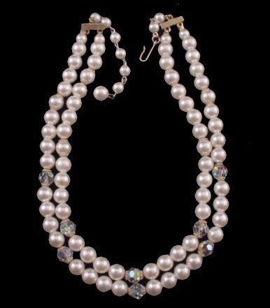 Vintage 2 Strand Faux Pearl & Crystal Necklace