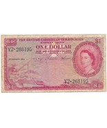 1958 BRITISH CARIBBEAN TERRITORIES ONE DOLLAR $1 CIRCULATED NOTE-SHIPS F... - €36,06 EUR