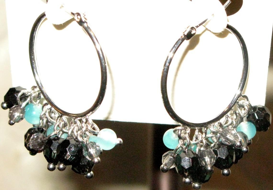 Ann Taylor Beaded Hoop Silver Earrings - Pierced new w/ packaging