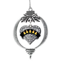 Inspired Silver Candy Corn Pave Heart Holiday Christmas Tree Ornament With Cryst - $14.69