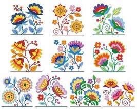 Jacobean Flowers cross stitch chart Cross Stitc... - $12.60