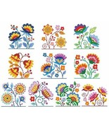 Jacobean Flowers cross stitch chart Cross Stitch Wonders - $12.60