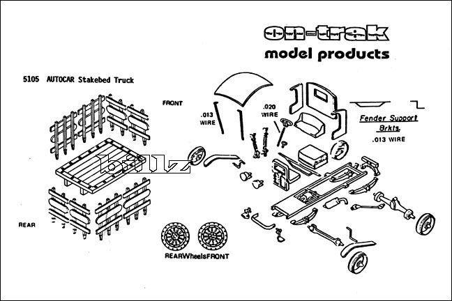 OnTrak HO 5105 - 1909 Autocar Stake Bed Truck - KIT