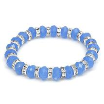 GENUINE CRYSTALS CRAFTED IN SILVER BASE METAL BRACELET - $15.00