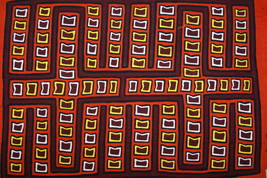 Kuna Geometric Mola Reverse Applique Hand sewn Fabric Art Pig Hooves Maz... - $56.99