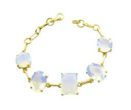 Yellow Gold Plated Glass splendiferous Fire Opal CZ general Bracelet AU gift - $26.52