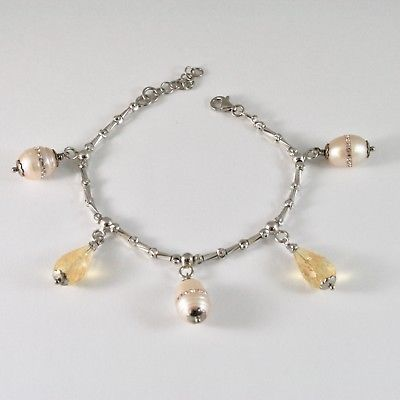 SILVER 925 BRACELET RHODIUM WITH QUARTZ CITRINE AND PEARLS FW WITH CRYSTALS