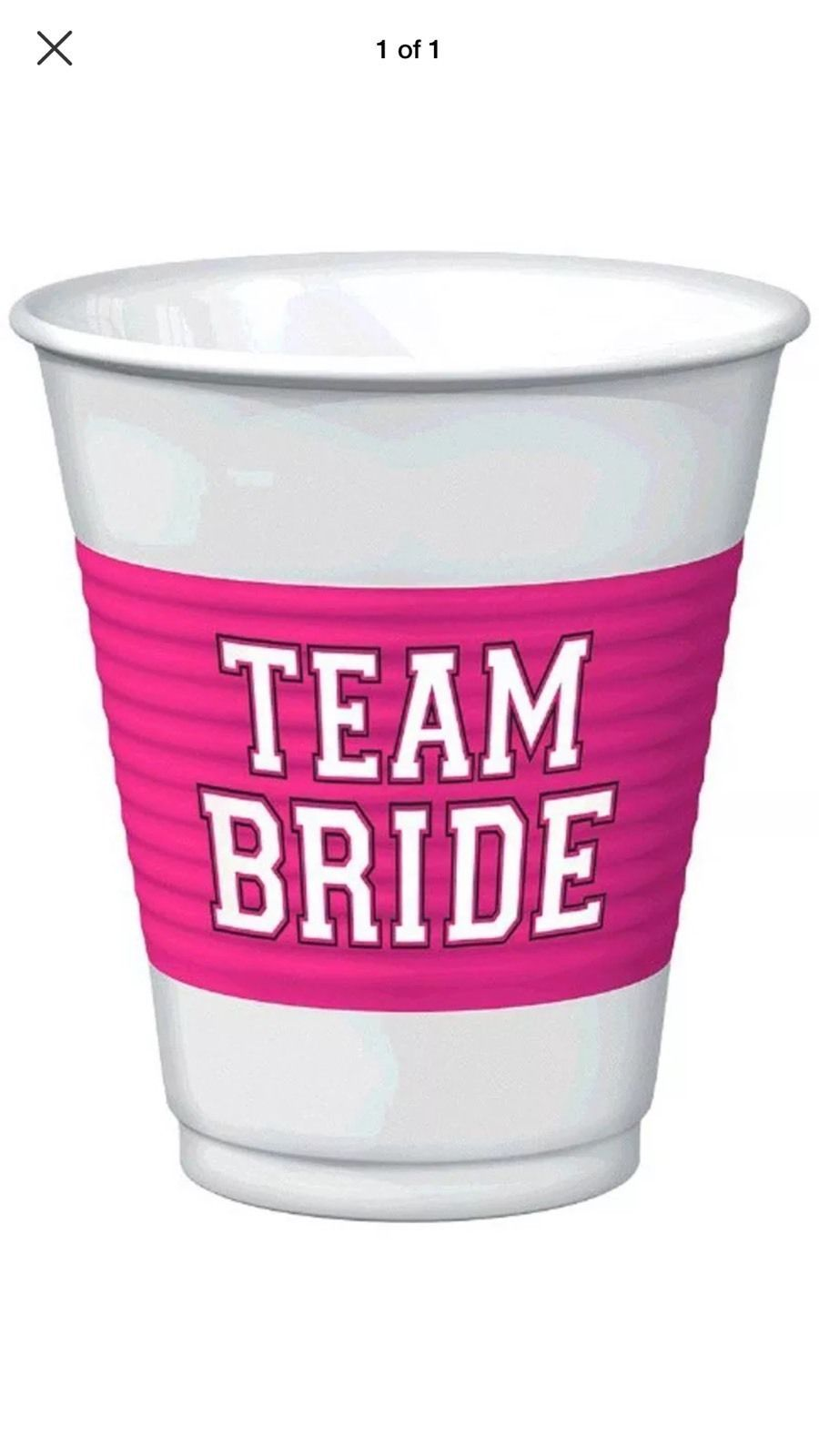 Team Bride 16oz Plastic Cups Special Twin Pack 50 Cups Free Shipping