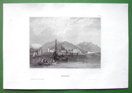 AJACCIO on Island of Corcisa France - Antique Print Engraving - $13.77