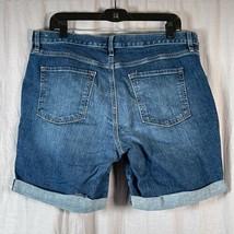 Loft Outlet Rolled Hem Denim Women's Size 12 Jean Shorts Dark Wash Pockets - $21.77