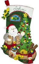 Bucilla Lodge Santa Fishing Canoe Camping Christmas Felt Stocking Kit 86940E - $39.95