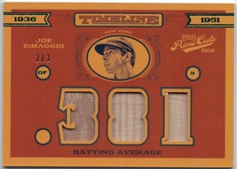 2016 Panini Prime Cuts Bat Relic- Joe DiMaggio 2/3 - $79.99