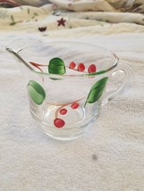 Vintage Clear  Glass Creamer With Handpainted Leaves & Berries - $8.90