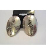 Snake sterling silver marcasite pierced earrings vintage 80's 9.25 dome ... - $58.00
