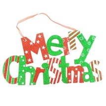 Merry Christmas Glitter Hanging Sign Holiday Wall Décor #RED - $16.99