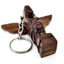 Hand Carved Ironwood Wood Folk Art 3D Eagle Totem Pole Keychain image 5