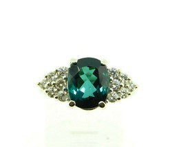 14k Gold 2.56ct Blue Green Genuine Natural Tourmaline Ring w/ Diamonds (#J4352) - $950.00
