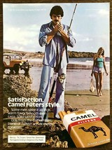 1979 Camel Filter Cigarettes PRINT AD 70s Mustache Guy Woman Fishing Beach Jeep - $10.69