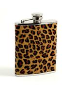 """Bey Berk Silver Stainless Steel Flask with Leopard"""" Pattern  - $43.95"""