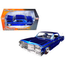 1964 Chevrolet Impala Blue Showroom Floor 1/24 Diecast Model Car by Jada 98908 - $32.11