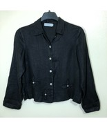Willow Linen Cropped Jacket Button Down Shirt Womens Size Small - $39.59