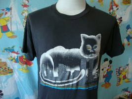 Vintage 80's New York City Cat Twin Towers T Shirt M  - $39.59